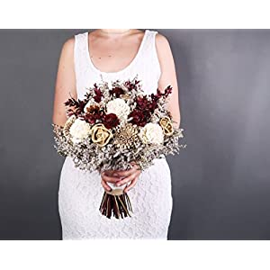 Bridal Bouquet Ivory Brown Burgundy Gold Pine Cone Sola Flowers Rustic Woodland Autumn Winter Wedding 12