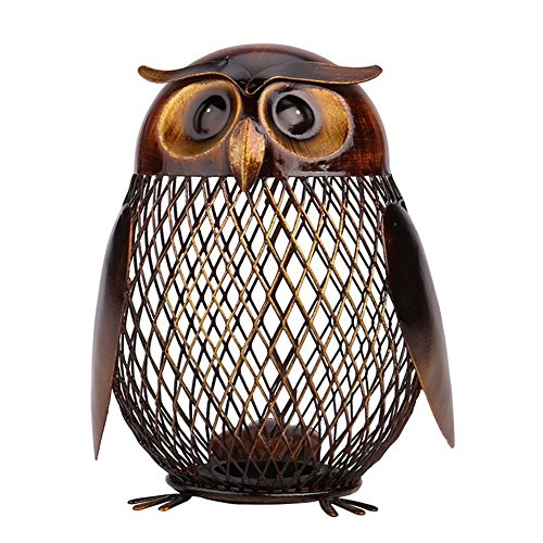 Blingflower Owl Shaped Metal Coin Bank Box Handwork Crafting Arts Animal Ornament Iron Handcrafts by Blingflower