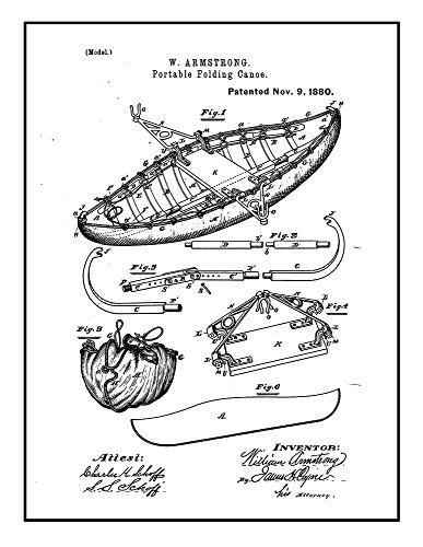 Portable Folding Canoe Patent Print Black Ink on White with