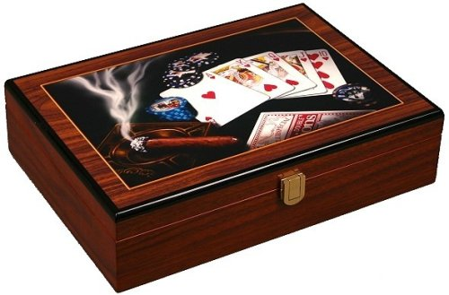 Glossy Wooden Poker Chip Case - Holds 200 Chips, 2 Decks of Playing Cards and Dice by Da Vinci