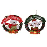 MonkeyJack Merry Christmas Santa Snowman Rattan Wreath Christmas Wall Hanging Ornaments