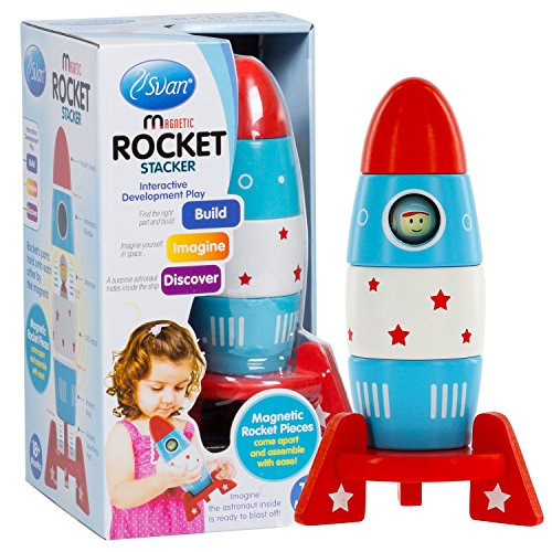 - Wooden Stacker Toy Space Rocket - (6 Magnetic Stacking Pcs) Magnet Building Set with Surprise Astronaut Inside