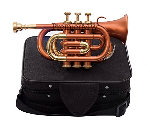 Bb PITCH POCKET TRUMPET COPPER COLORED WITH FREE CASE + MP by PREMIER MW