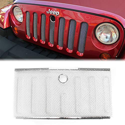 E-cowlboy Stainless Front Hood Grille Bug Screen 3D Mesh Grill Insert Black for Jeep Wrangler Rubicon Sahara Jk 2007-2015 (Insert Screen Grille Stainless)