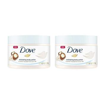 Amazon Com Dove Exfoliating Body Polish Body Scrub Macadamia Rice Milk 10 5 Oz 2 Pack Beauty