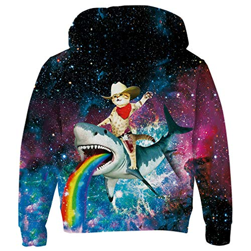 Pirate Youth Sweatshirt - RAISEVERN Little Boy's Hoodie Multicolored Universe Pirate Cat Rainbow Design Hoodies Funky Novelty Sweatshirt Hipster Pullover Hoody Clothes