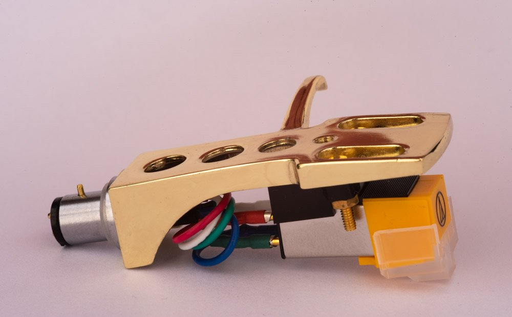 Gold plated Headshell, mount with cartridge and stylus, needle for Technics SL 1500, SL 1510, SL 1600, SL 1610, SL1650, SL 1700, SL 1710, SL 1800, SL 1810, SL 1900, SL 1950, SL 2000, MADE IN ENGLAND AudioOrigin