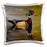 3D Rose Wood Duck Drake Pillow Case, 16'' x 16''
