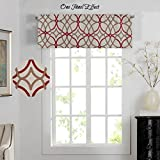 Curtains and Valances H.Versailtex Energy Saving Curtain Valances Matching with Curtain Panels (Rod Pocket,52 by 18 Inch,Geo in Taupe and Red)