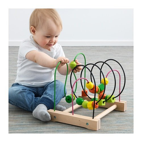 New Baby Educational & Developmental Wooden Toy Play Station Bead Roller Coaster Wire Tracks Table (Baby Mulan)