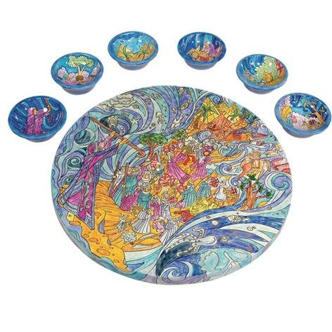 The Exodus From Egypt Seder Plate and Six Small Bowls by Yair Emanuel