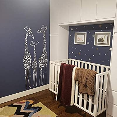 WonderWallzStore Giraffe Wall Decal Nursery Giraffes Family Wall Sticker Safari Nursery Decal Set of 3 Giraffes Choose Your Color 14