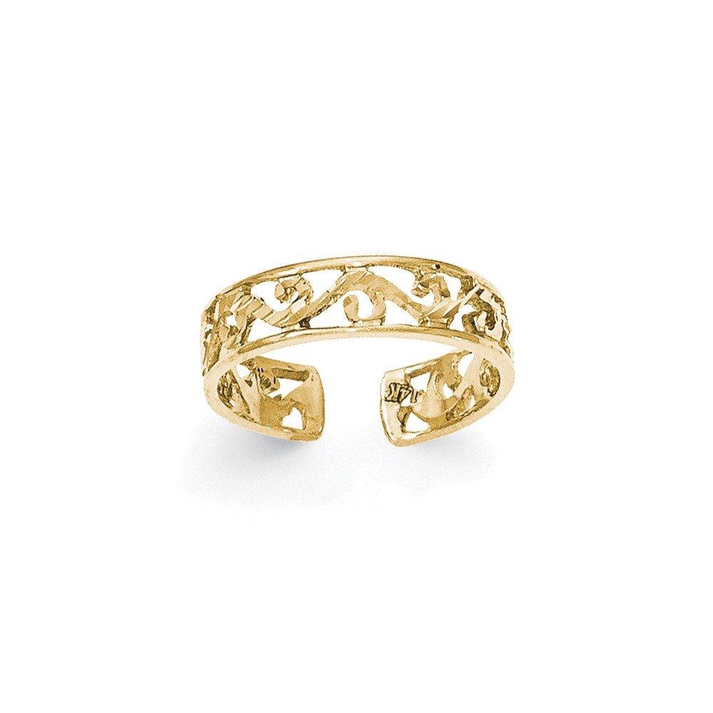 14k Polished and Diamond-cut Toe Ring CoutureJewelers QG-K5796-CJ