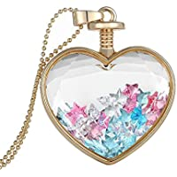diffstyle Charming Dried Pressed Flower Love Heart Glass Bottle Pendant Collar Necklace (Type 12)