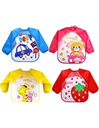 Kids Art Smocks, 4 Pcs Apron Bib with Sleeves for Toddlers Painting, Cooking and Lab Activity, Waterproof Long Sleeve Baby Apron, Unisex Feeding Bibs for 1 to 5 Years Old