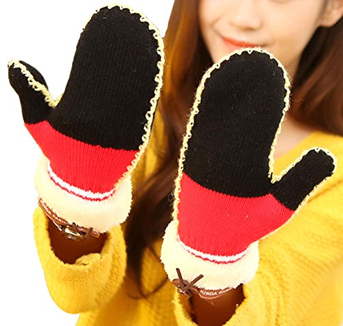 XF Women's Warm Fur Patchwork Knitted Mittens Thick Winter Gloves