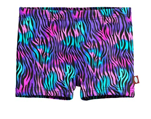 City Threads Girls' Swimming Suit Bottom Boy Short, Electric Zebra, 14 (Zebra Boyshort)