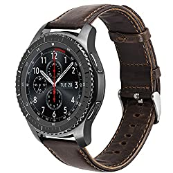 Olytop For Gear S3 Frontier Classic Accessory Watch Band, Premium Vintage Crazy Horse Genuine Leather Replacement Watchband For Samsung Gear S3 Frontier Classic Smartwatch (Coffe, Gear S3 22mm)