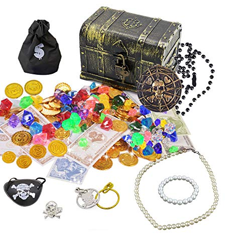 SIX VANKA Pirate Treasure Chest & 100pcs Plastic Play Gold Coins & 60pcs Acrylic Diamond Gems Jewels for Kids Toy Hunt Game Party Favors Birthdays Supplies]()