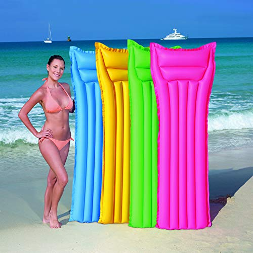 (Wemaker Inflatable Pool Float Raft, Float Lounge, Large Summer Outdoor Swimming Pool Mat Neon Frost Air Mat Mattress 72