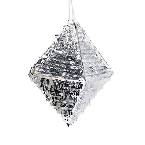 Andaz Press Silver Foil Fringe Piñata, 18-inch, Diamond, 1-Pack, Wedding 25th 50th Anniversary Graduation Sweet 16 Birthday New Years Eve 2018 2019 2020 Hanging (Diamond Silver Foil)