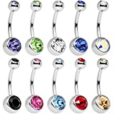 15 PCS Assorted Colors Belly Button Ring Surgical steel Hypoallergenic Lead and Nickel Free,14 Gauge navel piercing body jewelry