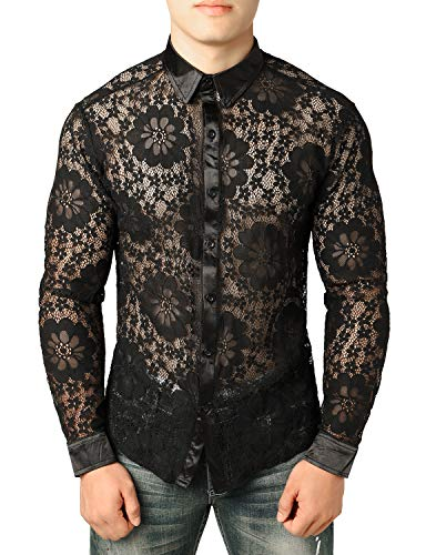 JOGAL Men's Flower Button Down Shirts Sexy See Through Gold Embroidery Lace Sheer Tops Blouse (Medium, Daisy) ()