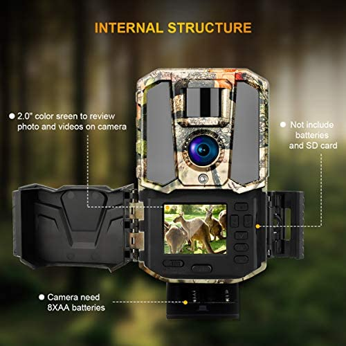 """Trail Game Camera 30MP 1440P HD 2.0"""" Color LCD, Hunting Camera Wildlife Cam with IR Night Vision Motion Activated for Outdoor Wildlife Monitoring Home Security Waterproof"""