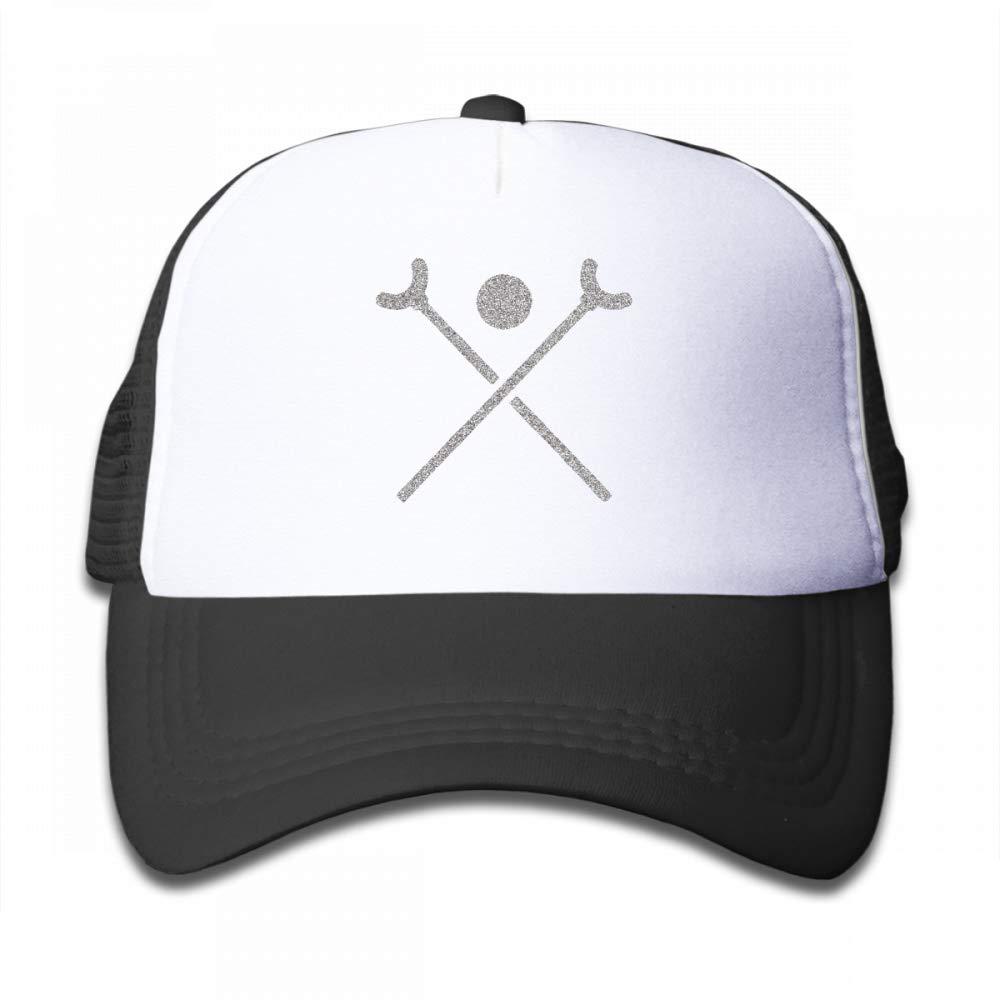 NO4LRM Kid's Boys Girls Crossed Shuffleboard Cues Yarn Youth Mesh Baseball Cap Summer Adjustable Trucker Hat