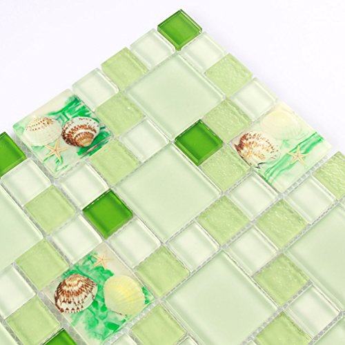 Green Mosaic tile Shower Wall Coverings Beach Style White Glass Tiles Resin Conch Kitchen Backsplash Bath Wall Deco Materials (1PCS Small Sample 2.8x5.9 Inches)