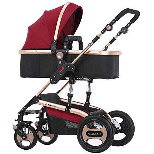 Strollers High Landscape Stroller Four Rounds Newborn Pushchairs Two Way Toddlers Strollers with Cup Holder and Meal Plate 2 in 1 fold Baby Prams Suitable for 0-3 Years Old Standard