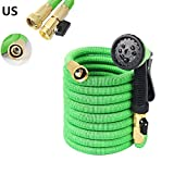 Belle Dura Garden Hose Nozzle 50ft Expanding Extra Strength High Pressure 8 Ways Car Wash Pipe Spray with Brass Fittings Bonus Storage Bag and Hanger