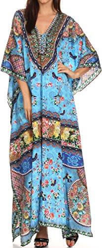 Sakkas SS1641 KF28035A - LongKaftan Georgettina Ligthweight Printed Long Caftan Dress /...
