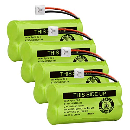 iMah BT18433/BT28433 2.4V 500mAh Ni-MH Cordless Phone Battery Pack, Also Compatible with VTech AT&T Telephone Batteries BT184342/BT284342 BT8300 BT1011 BT1018 BT1022 BT1031 2SN-AAA55H-S-J1, Pack of 4