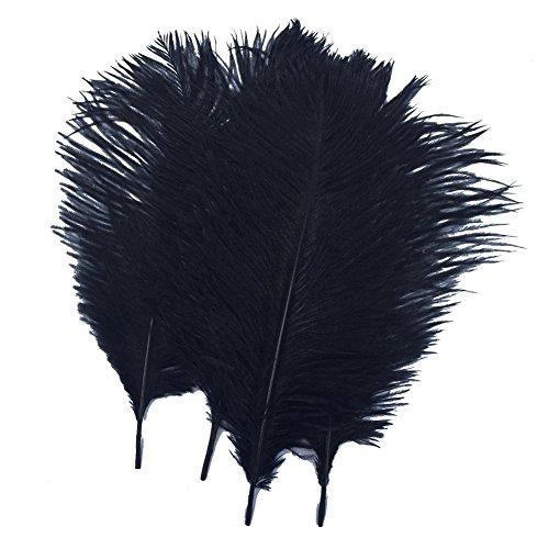 Pluma de avestruz blanca, 40 – 45 cm, plumas de avestruz, para centros de mesa de boda, fiesta, comedor, jarron, decoracion de botellas, negro, 40-45cm 10pcs