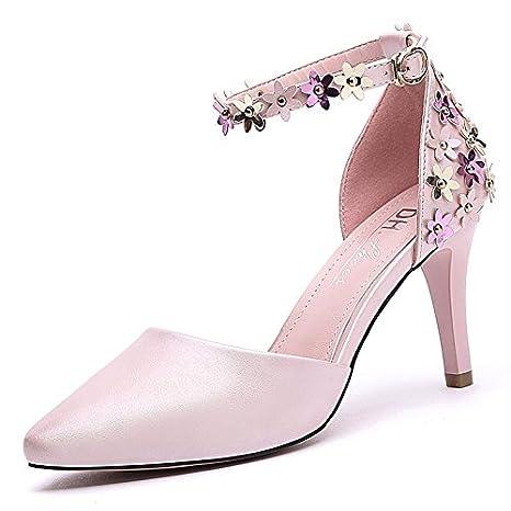 RUGAI-UE Tacchi, tacchi alti, ladies' sandali, estate talloni e tacchi alti,bianco,trentacinque