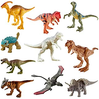 Jurassic World Camp Cretaceous Isla Nublar Multipack Featuring 10 Mini Dinosaur Action Figures with Realistic Sculpting, Authentic Decoration Movable Articulation Points