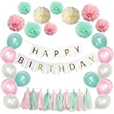 Sopeace 63 PIECE Birthday Party Decoration Pack - Happy Birthday Banner - 30 Party Balloons -10 Paper Pom Poms - 10 Tassels Perfect For Girls Birthday Party set