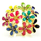 Chevon's Rainbow Flower Cluster Cocktail Ring