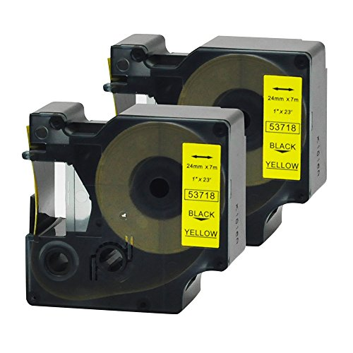 Compatible DYMO D1 Label Tape 2Packs 53718 Black Print on Yellow Cassette Cartridge Refills for Label Manager Label Makers ,1