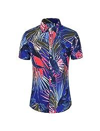 Turn Down Collar Shirts for Men,Fashion Tops Slim Loose Hawaii Short Sleeve Printed T-Shirt