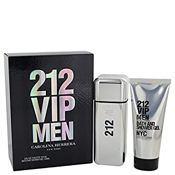 98dfd3c0d Amazon.com : CAROLINA HERRERA 212 VIP Gift Set Eau De Toilette Spray and  Shower Gel for Men, 3.4 Fluid Ounce : Beauty