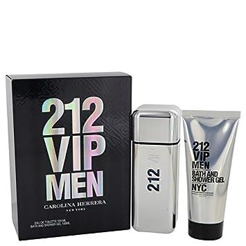 Amazon.com   CAROLINA HERRERA 212 VIP Gift Set Eau De Toilette Spray and  Shower Gel for Men b31b30a382ab