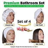 Cheap 4in1 Premium Bathroom Set – Shower Cap, Hair Turban, Face Washing Elastic Hair Headband, Detangling Sandalwood Hair Comb.