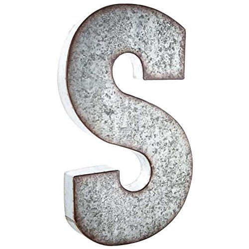 Huge 20'' Metal Alphabet Wall Décor Letter S'' Rusted Edge Galvanized Metal by Generic (Image #2)