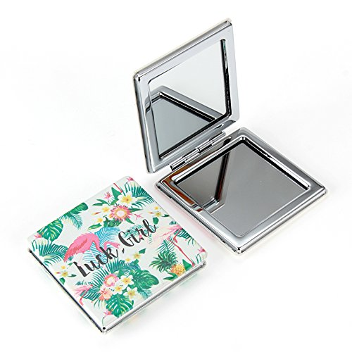 Womens Square Shaped Doodle Design Compact Pocket Mirror Set 2 Magnification 1 Mirror, Pocket-size, Travel Mirror LUCK GIRL