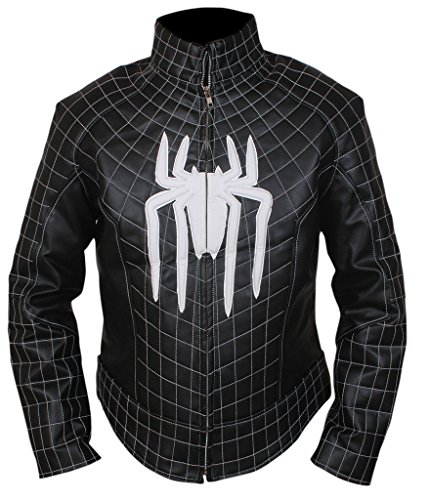 F&H Men's Amazing Spiderman Genuine Leather Jacket L Black -