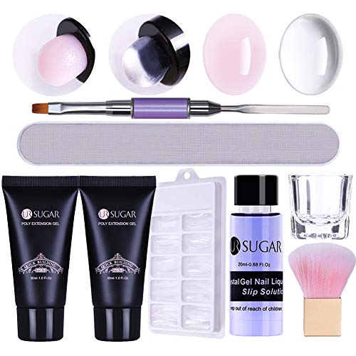 UR SUGAR Poly Extension Gel Kit Quick Building Poly Builder UV Gel Set With Slip Solution Liquid Container Finger Extension Nail Art Tools Set Nail Mold Nail Brush Clear Soft Pink