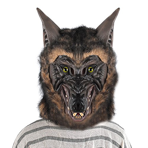 Halloween Werewolf Mask Hauling Wolf Party Costume Scary Fancy Dress Horror Adult Size Men Women Big (Werewolf Latex Mask)