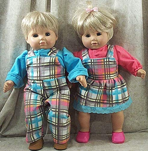 American Girl Doll Clothes Bitty Baby Twins Boy Girl Overalls Plaid